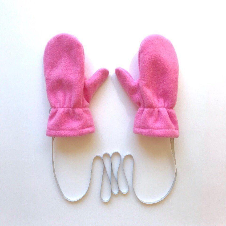 Варежки флисовые с трикотажным подкладом. цвет: розовый