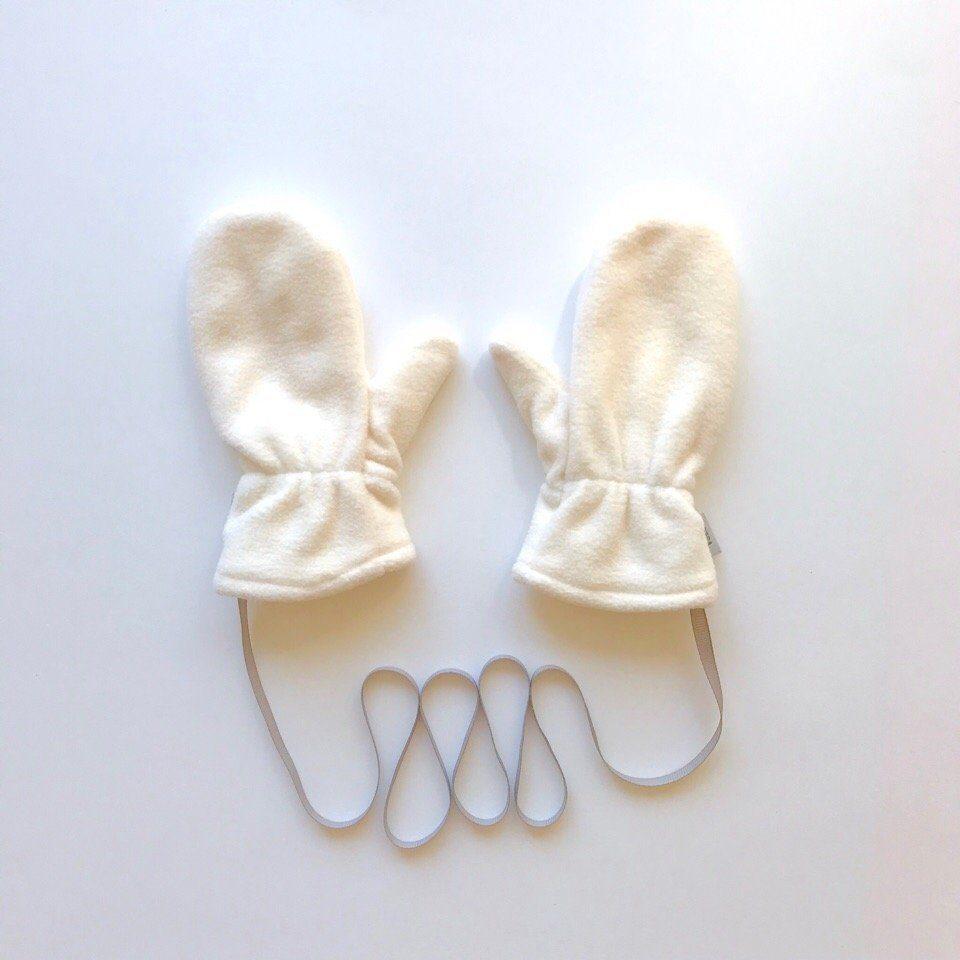 Варежки флисовые с трикотажным подкладом. цвет: молочный