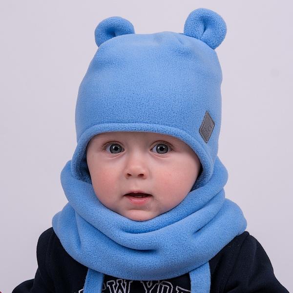 """Шапка двухслойная флисовая """"Медвежонок"""" со светоотражающим шевроном. Цвет голубой"""