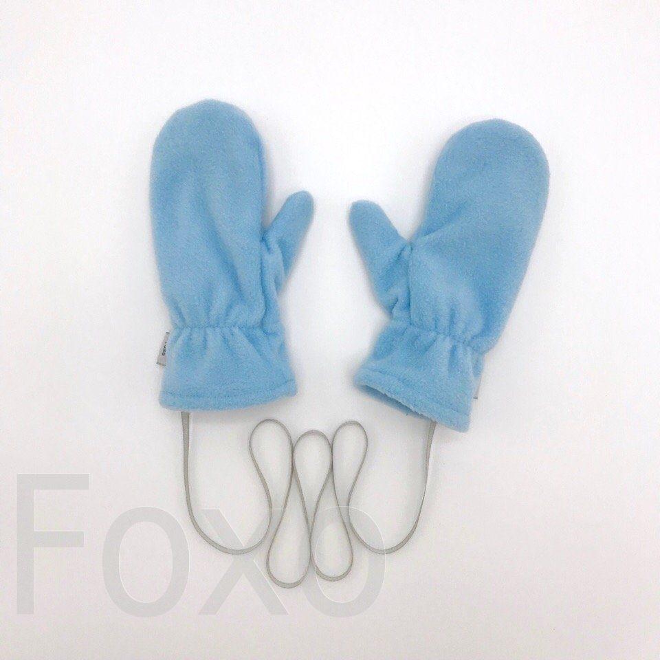 Варежки флисовые с трикотажным подкладом. цвет: голубой