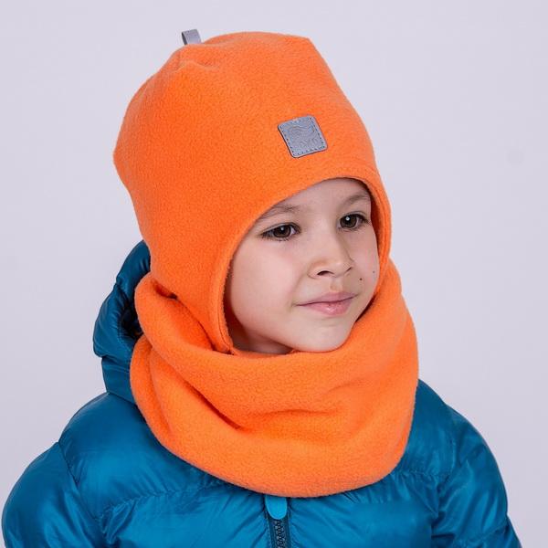 Шапка двухслойная флисовая со светоотражающим элементом и шевроном. Цвет оранжевый