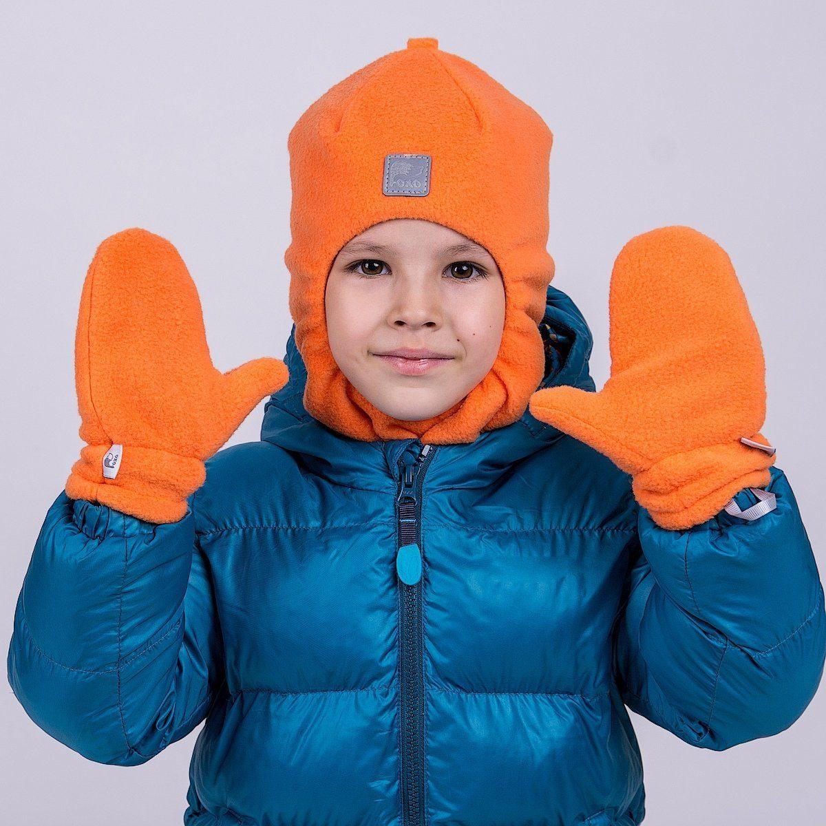 Варежки флисовые с трикотажным подкладом. Цвет оранжевый